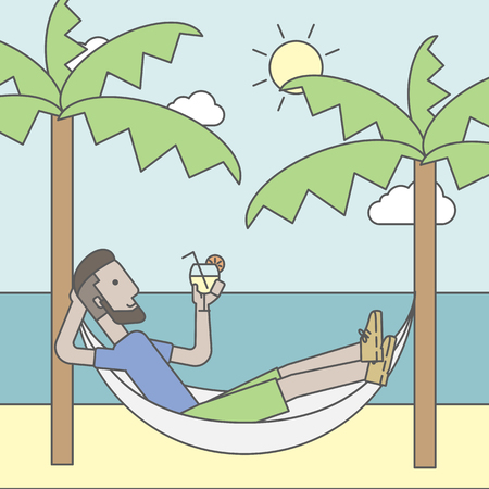 chilling: A caucasian hipster man with beard chilling in hammock at seashore with a cocktail in a hand. Vector line design illustration. Square layout.