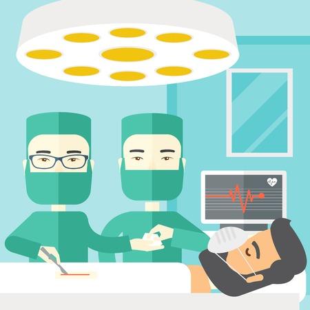 hospital caricatura: Dos cirujanos asi�tico trabajando y mirando por encima de un paciente tumbado en un dise�o plano ilustraci�n vectorial ambiente operativo. Dise�o Square.