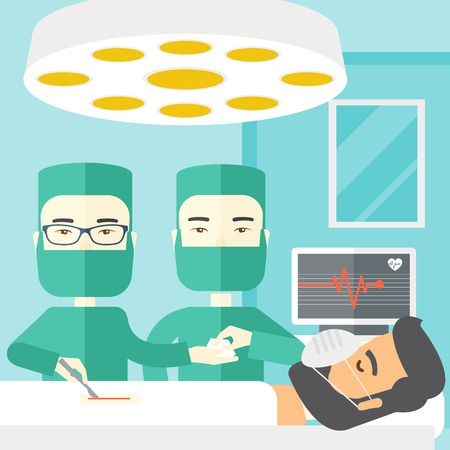teamwork cartoon: Two asian surgeons working and looking over a lying patient in an operating room vector flat design illustration. Square layout. Illustration