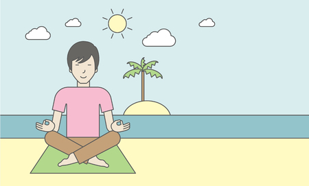 flexible: An asian man meditating in lotus pose on the beach. Vector line design illustration. Horizontal layout with a text space for a social media post.