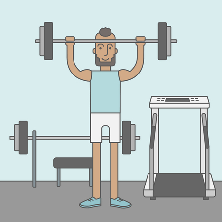 crossbar: A happy caucasian hipster man with beard lifts weights in the gym. Vector line design illustration. Sport concept. Square layout.