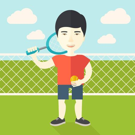 athlete cartoon: An asian big tennis player holding a tennis racket and a ball while standing on tennis court vector flat design illustration. Square layout. Illustration