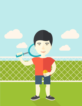 An asian big tennis player holding a tennis racket and a ball while standing on tennis court vector flat design illustration.  Vertical poster layout with a text space.