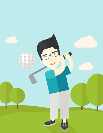 golfer swinging: An asian golf player wearing glasses hitting the ball on the field vector flat design illustration.  Vertical poster layout with a text space.