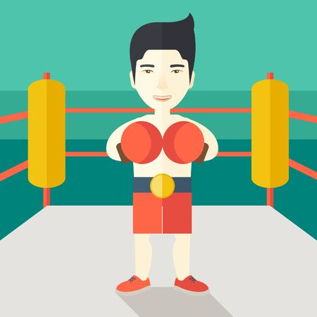 Single an asian boxer in gloves standing in the ring vector flat design illustration. Square layout.