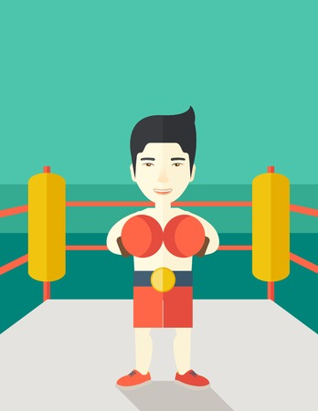 Single an asian boxer in gloves standing in the ring vector flat design illustration. Vertical poster layout with a text space.