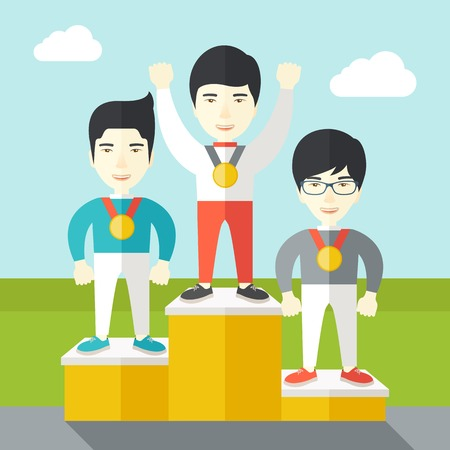silver medal: Three asian male athletes with medals standing on a pedestal vector flat design illustration. Square layout.