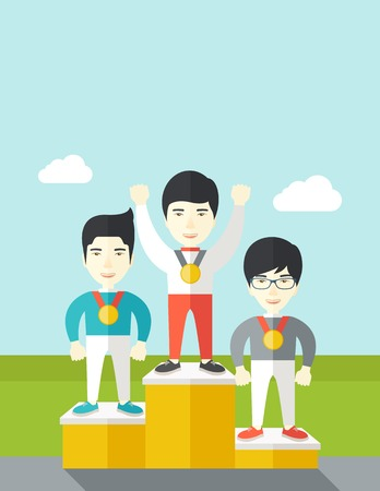 Three asian male athletes with medals standing on a pedestal vector flat design illustration. Vertical poster layout with a text space.