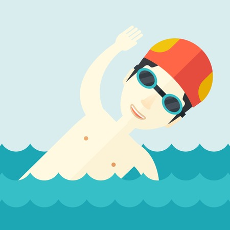 An asian swimmer wearing cap and glasses  training in water vector flat design illustration. Square layout. Иллюстрация
