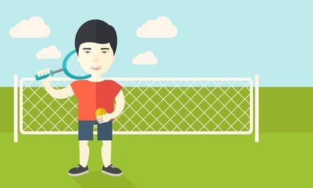 athlete cartoon: An asian big tennis player holding a tennis racket and a ball while standing on tennis court vector flat design illustration.  Horizontal layout with a text space for a social media post.