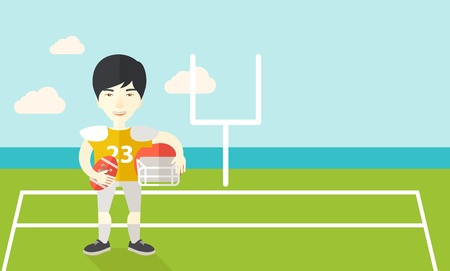 football play: An asian rugby player with ball and helmet in hands standing on the stadium vector flat design illustration. Horizontal layout with a text space for a social media post. Illustration