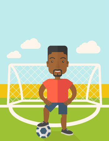 athlete cartoon: An african-american football player with ball standing on field of stadium vector flat design illustration. Vertical poster layout with a text space. Illustration