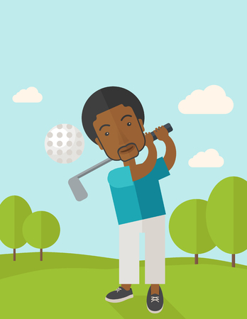 golfer swinging: A african-american golf player hitting the ball in the field vector flat design illustration. Vertical poster layout with a text space.