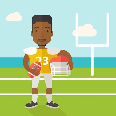 athlete cartoon: An african-american rugby player with ball and helmet in hands standing on the stadium vector flat design illustration. Square layout. Illustration
