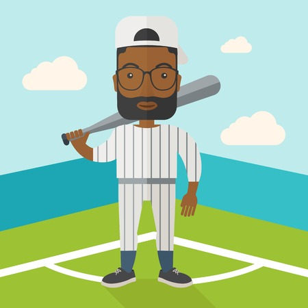 baseball cartoon: An african-american baseball player standing with a bat in a field vector flat design illustration. Square layout.