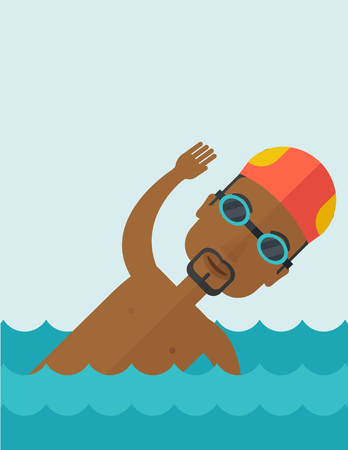 An african-american swimmer wearing cap and glasses training in water vector flat design illustration. Vertical poster layout with a text space.