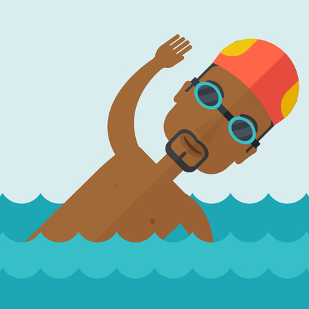 athlete cartoon: An african-american swimmer wearing cap and glasses training in water vector flat design illustration. Square layout.