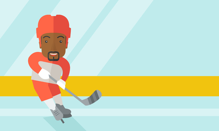 hockey equipment: A african-american ice-hockey player skating with a stick at the rink vector flat design illustration. Horizontal layout with a text space for a social media post. Illustration
