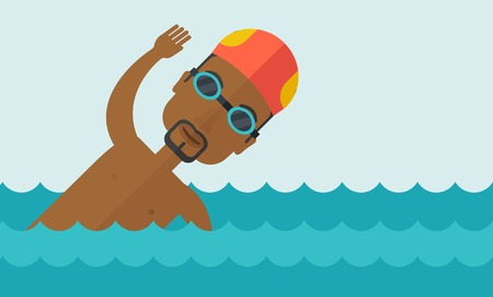 An african-american swimmer wearing cap and glasses training in water vector flat design illustration. Horizontal layout with a text space for a social media post. Ilustracja