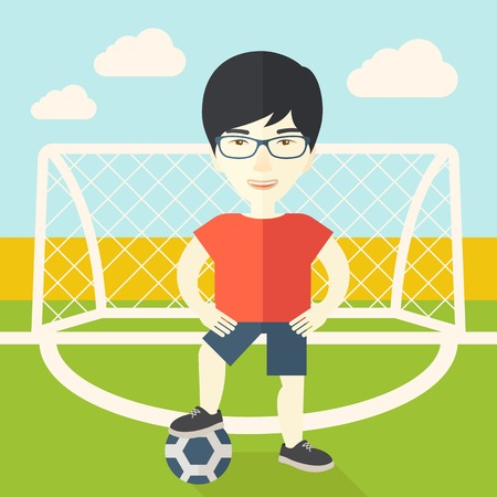 outdoor exercise: An asian football player with ball standing on field of stadium vector flat design illustration. Square layout.