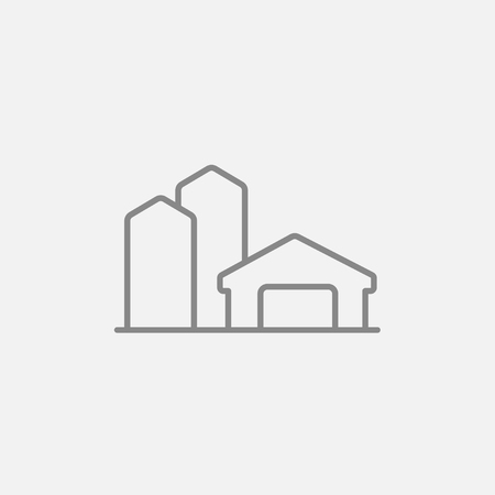 granary: Farm buildings line icon for web, mobile and infographics. Vector dark grey icon isolated on light grey background.