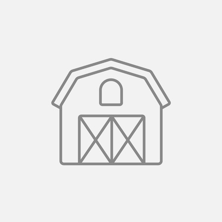 Farm building line icon for web, mobile and infographics. Vector dark grey icon isolated on light grey background.