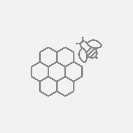 Honeycomb and a bee line icon for web, mobile and infographics. Vector dark grey icon isolated on light grey background.