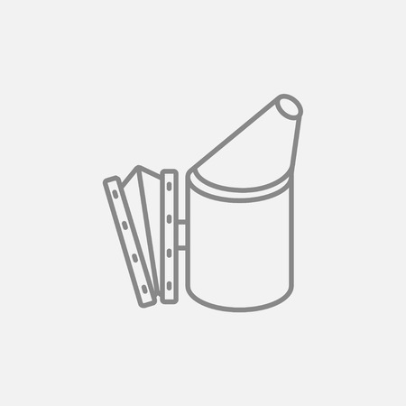 Bee hive smoker line icon for web, mobile and infographics. Vector dark grey icon isolated on light grey background.