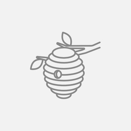 Web、モバイル、インフォ グラフィックの蜂ハイブ ライン アイコン。ベクトル暗い灰色アイコン ライトグレーの背景に分離されました。