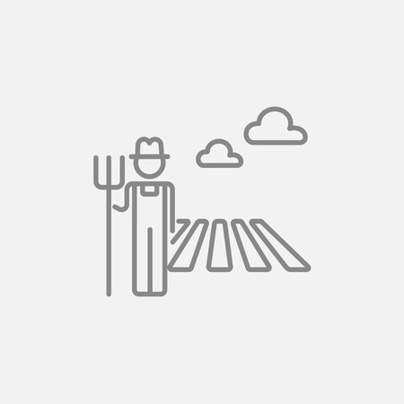 Farmer with pitchfork standing on the field line icon for web, mobile and infographics. Vector dark grey icon isolated on light grey background. Stock Illustratie