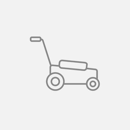 garden maintenance: Lawnmover line icon for web, mobile and infographics. Vector dark grey icon isolated on light grey background.