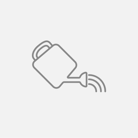 Watering can line icon for web, mobile and infographics. Vector dark grey icon isolated on light grey background.