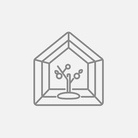 greenhouse: Greenhouse line icon for web, mobile and infographics. Vector dark grey icon isolated on light grey background. Illustration