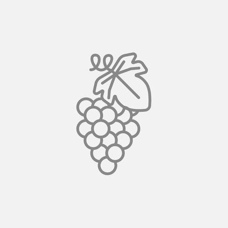 웹, 모바일 및 infographics에 대 한 포도 선 아이콘입니다. 밝은 회색 배경에 고립 된 벡터 어두운 회색 아이콘. 일러스트