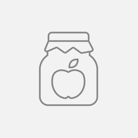 Apple jam jar line icon for web, mobile and infographics. Vector dark grey icon isolated on light grey background.