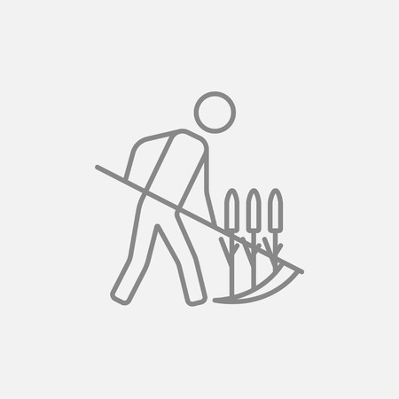mowing the grass: Man mowing grass with a scythe line icon for web, mobile and infographics. Vector dark grey icon isolated on light grey background.