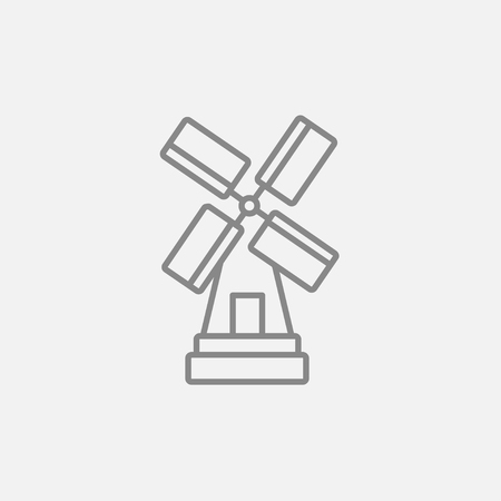 spinning windmill: Windmill line icon for web, mobile and infographics. Vector dark grey icon isolated on light grey background.