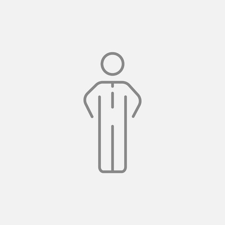 standing in line: Businessman standing line icon for web, mobile and infographics. Vector dark grey icon isolated on light grey background. Illustration