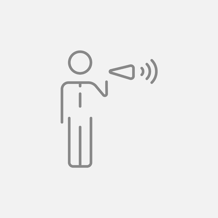 noisiness: Businessman with megaphone line icon for web, mobile and infographics. Vector dark grey icon isolated on light grey background. Illustration