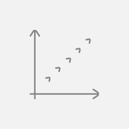 upward movements: Growth graph line icon for web, mobile and infographics. Vector dark grey icon isolated on light grey background. Illustration