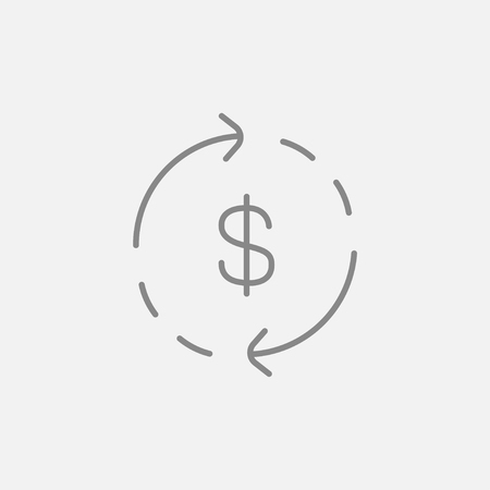 refresh rate: Dollar symbol with arrows around line icon for web, mobile and infographics. Vector dark grey icon isolated on light grey background.