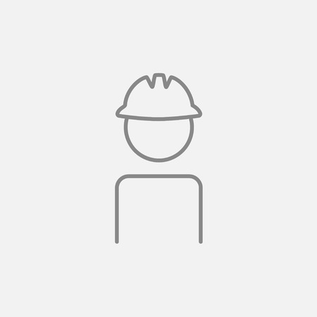 Worker wearing hard hat line icon for web, mobile and infographics. Vector dark grey icon isolated on light grey background. Stock Illustratie