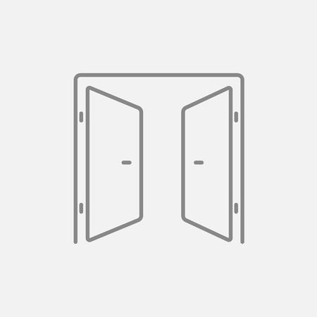 puerta abierta: Abrir icono de línea puertas para web, móvil y la infografía. Vector icono de color gris oscuro sobre fondo gris claro. Vectores