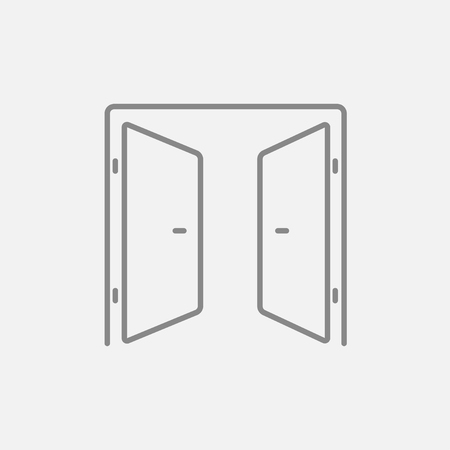 door knob: Open doors line icon for web, mobile and infographics. Vector dark grey icon isolated on light grey background.