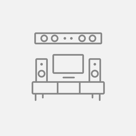 flat screen tv: TV flat screen and home theater line icon for web, mobile and infographics. Vector dark grey icon isolated on light grey background.