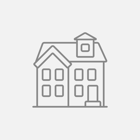 two storey house: Two storey detached house line icon for web, mobile and infographics. Vector dark grey icon isolated on light grey background. Illustration