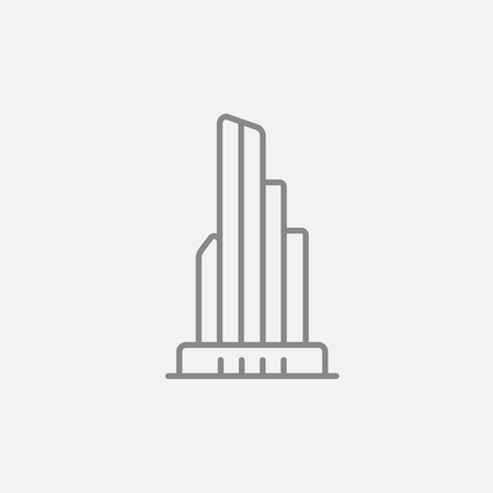 multi storey: Skyscraper office building line icon for web, mobile and infographics. Vector dark grey icon isolated on light grey background.