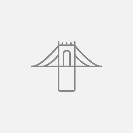 steel bridge: Bridge line icon for web, mobile and infographics. Vector dark grey icon isolated on light grey background.