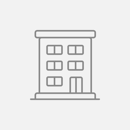 Residential building line icon for web, mobile and infographics. Vector dark grey icon isolated on light grey background. Illustration