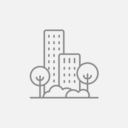 housing project: Residential building with trees line icon for web, mobile and infographics. Vector dark grey icon isolated on light grey background.